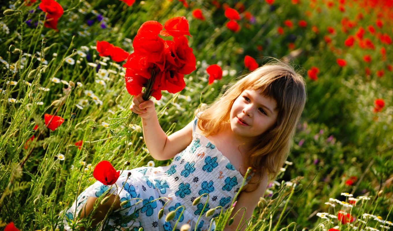 девочка, мак, поле, ромашки, улыбка