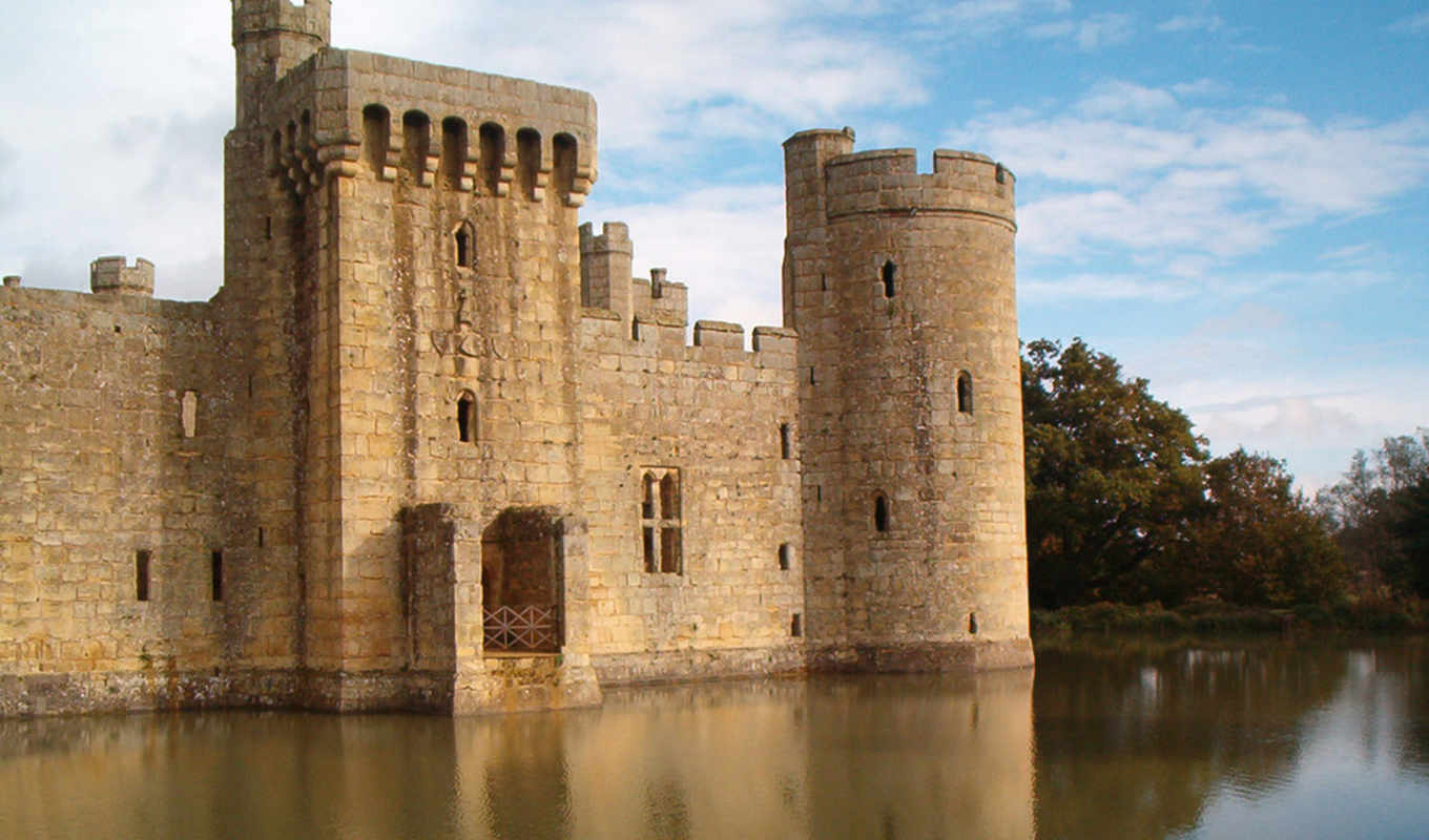 with, reflection, uk, bodiam,