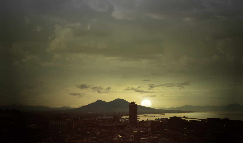 солнце, город, обработка, небоскребы, здания, высотки, картинка, горизонтали, имеет,