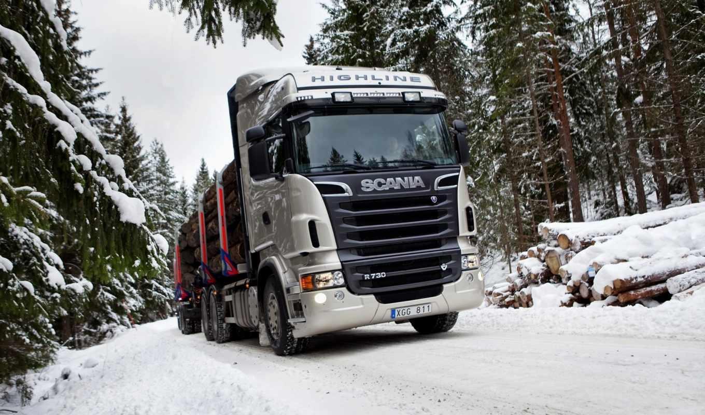 scania, лесовоз, автомобили, авто, truck, грузовики, передок, снег, за, лес, highline, картинку, обою, шпалери,