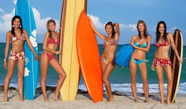 девушки, пляже, девушка, пляж,