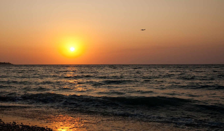 закат, море, sun, побережье, закате,