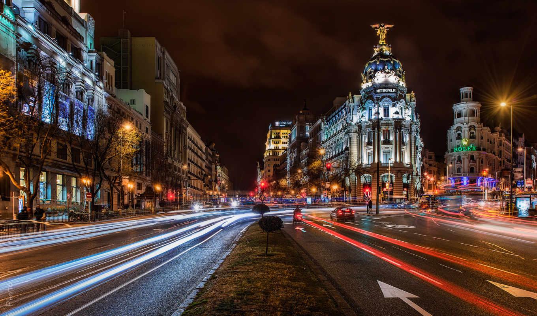 город, ночь, испания, мадрид, дорога, здания, дома, машины, architecture, люди,