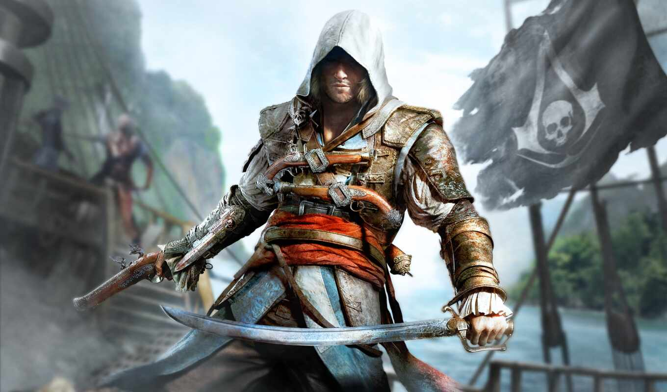 creed, assassin, black, флаг, game,