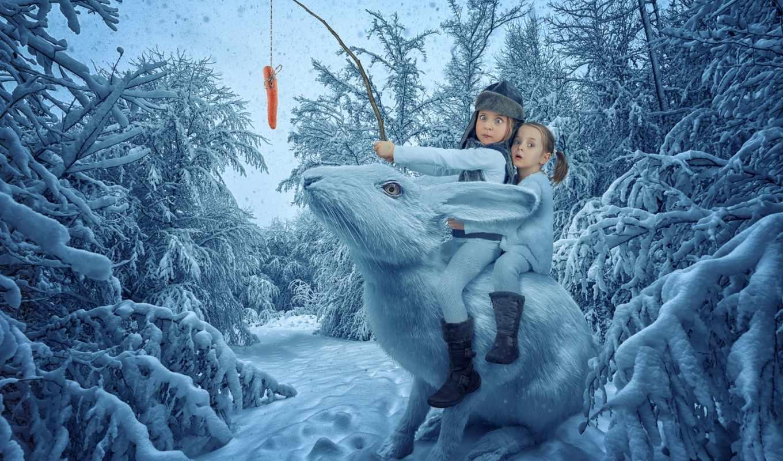 снег, кролики, коллекция, загружено, лучшая, children, уже, winter,