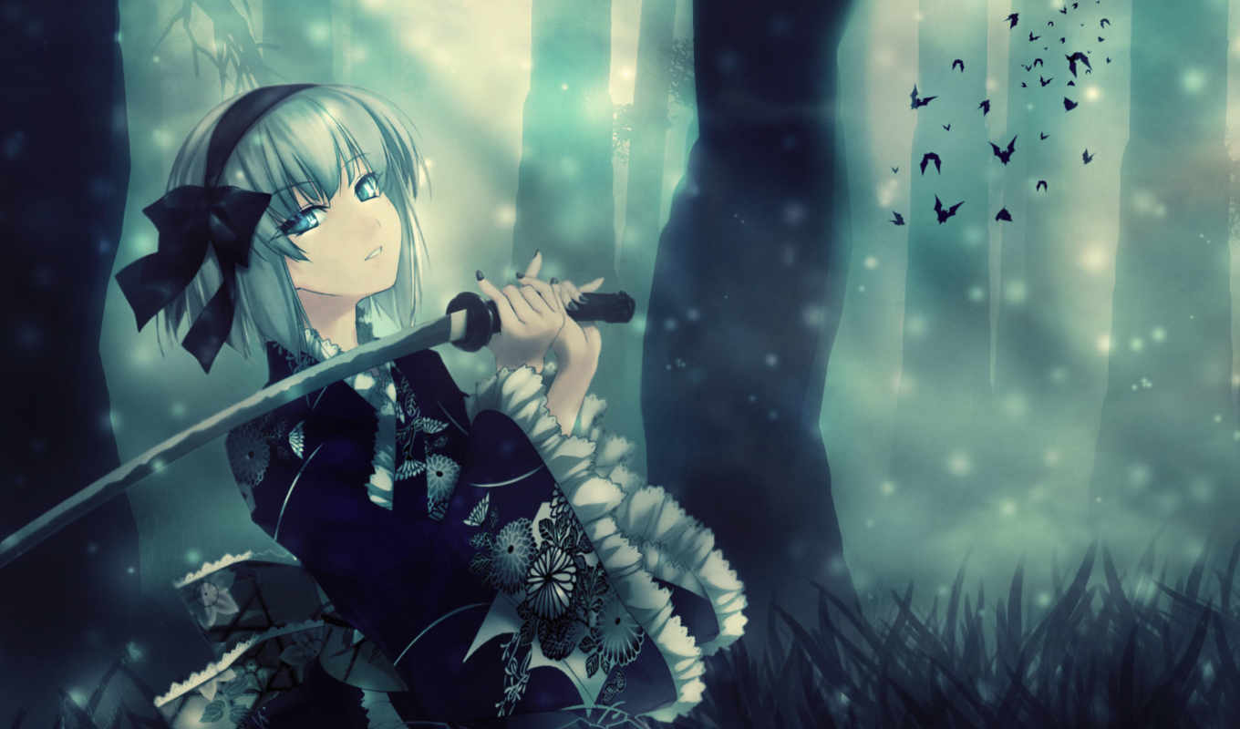 anime, sword, konpaku, youmu, touhou, tags, blue, katana, swords, artwork, girls, nature, weapons,