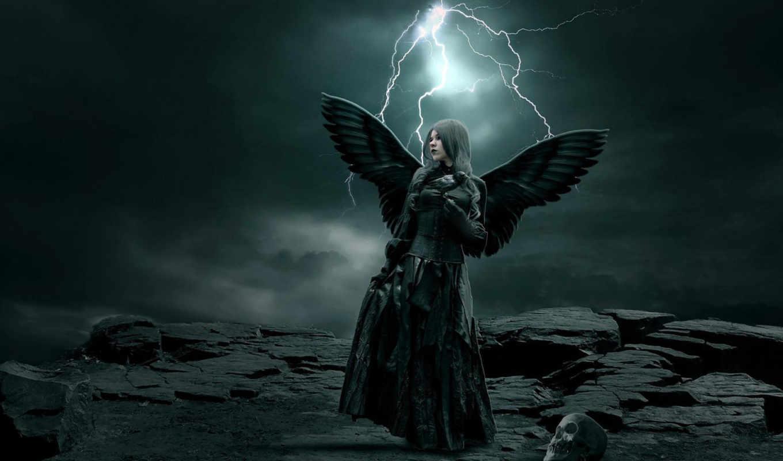 девушка, молния, фэнтези, ангел, молнии, крылья, ангелы,