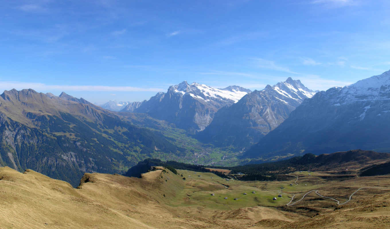 горы, панорама, небо, пейзаж, долина, скалы, ущелье, multi,