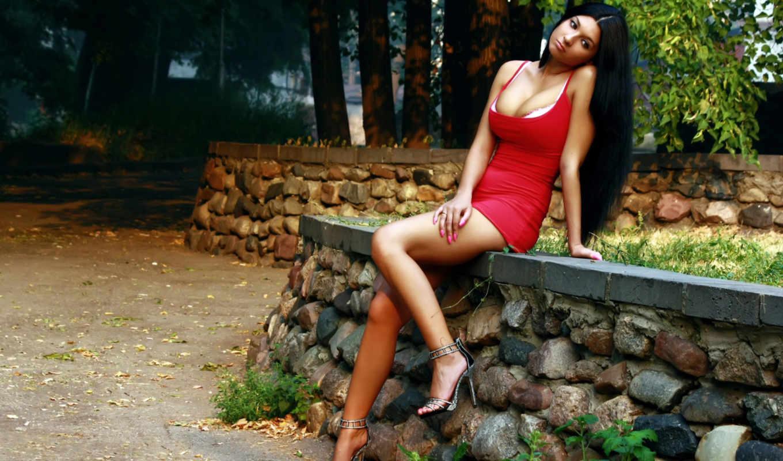 платье, девушка, коротком, красном, сидит,