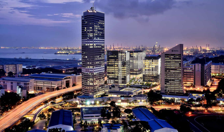 singapore, город, огни, после, порт, ночь,