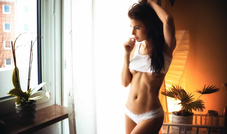 девушка, рубашка, красивый, brunette, белье, штаны, телок, тонкий, slim, женщина, фото