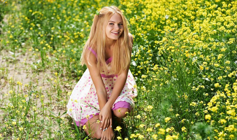 девушка, модель, tapety, dziewczyna, talia, piękna, kwiaty, pulpit, printemp