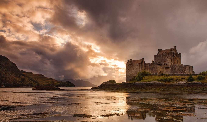 замок, castle, eilean, donan, scotland, тучи, свет, сквозь, картинка, мыши, выберите, картинку, правой, кнопкой,