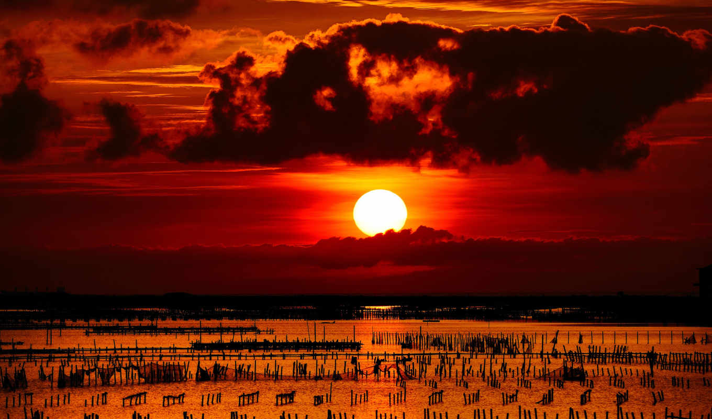 солнце, закат, море, забор, столбики, закаты, природа, небо, рассветы, облака, gun, batımı, картинка,