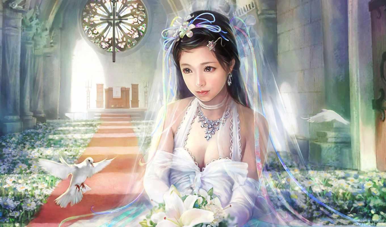невеста, фэнтези, девушка, girls, fantasy, белом, девушки, голуби, букет, lin, цветы, янв, chen, красавица,