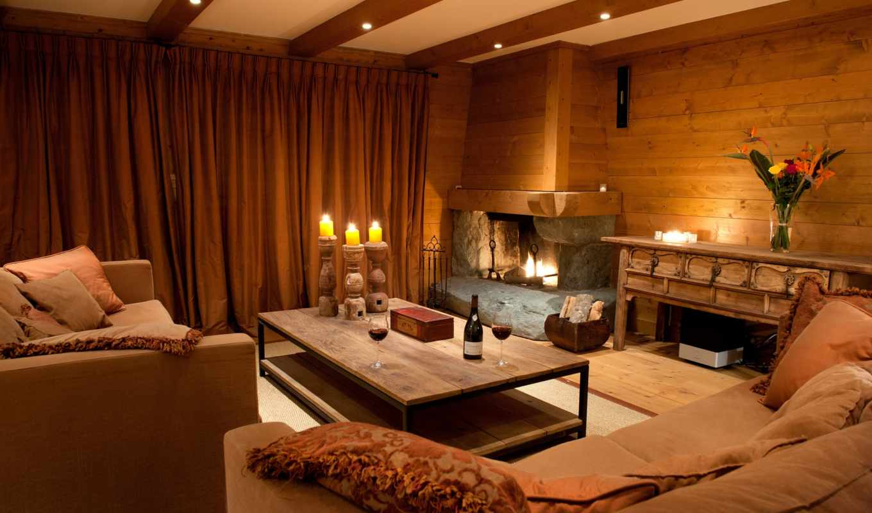 шале, стиле, штор, салон, диван, каминь, стиль, home, кухня, doma,