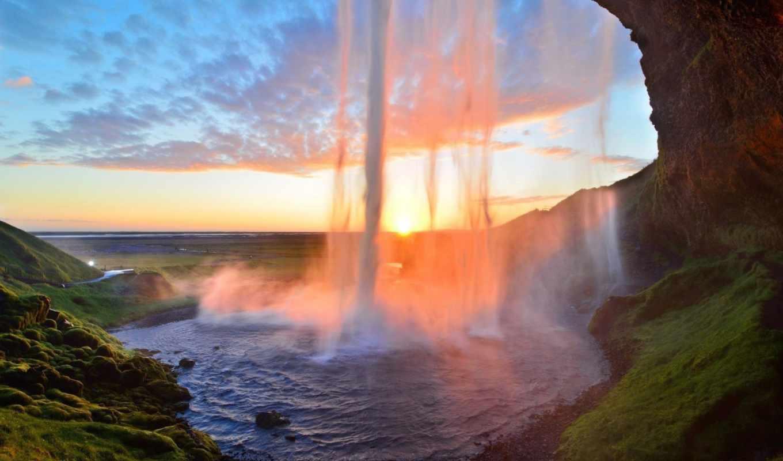 водопад, водопады, скалы, каскад, широкоформатные, без, взгляд, природа,