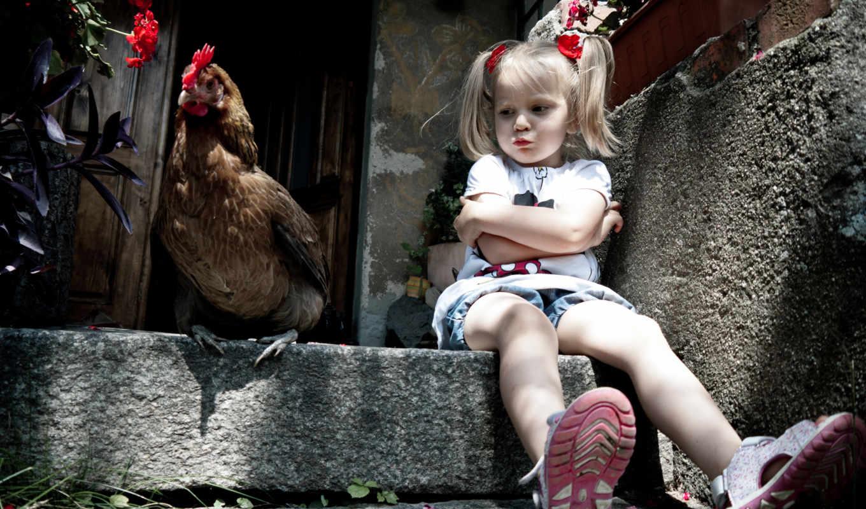 курица, девочка, обстановка, крыльцо