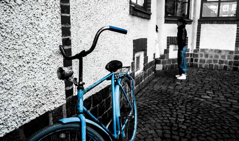 cycle, велосипед, black, blue, bike, white, дорога
