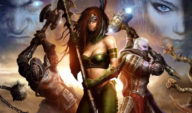 game, battle, fantasy, девушка, копьё, топор, молот, убийца, legends, forsworn, norrath, картинка,