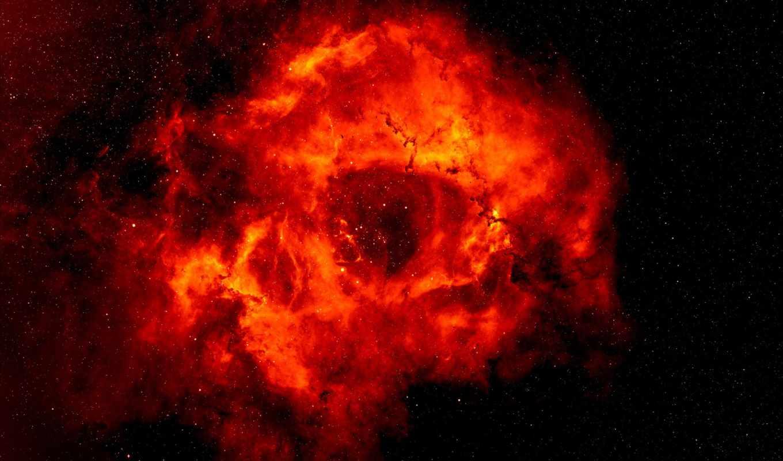 туманность, яркий, space, звезды, rosette, blast, розетки, картинка, черный, красный, огонь,