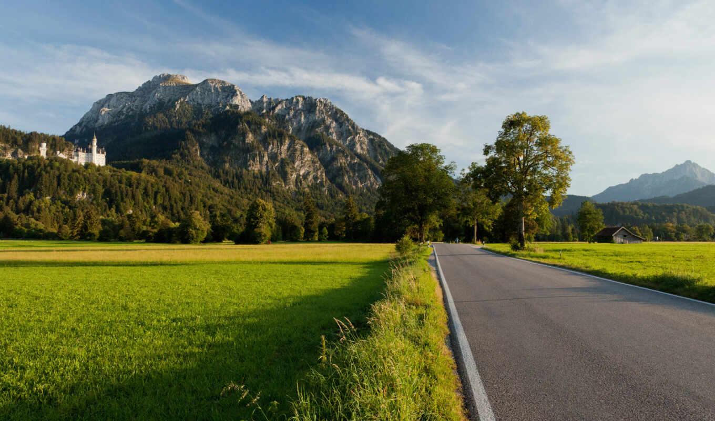 дорога, горы, деревья, замок, поле, desktop, nature, картинка, part, der,