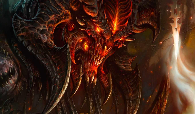 diablo, iii, демон, рога, клыки, пламя, зубы, огонь,