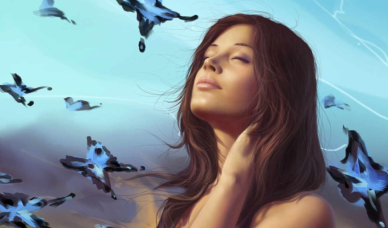 девушка, бабочки, art, взгляд, мечты,