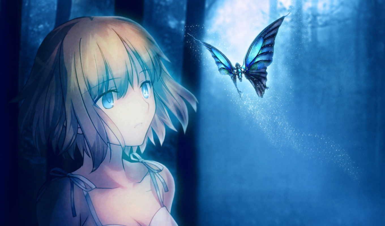 anime, art, девушка, ночь, лес, луна,