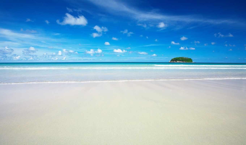 пляж, pozadine, море, песок, slike, небо, plaża, берег, остров, summer,