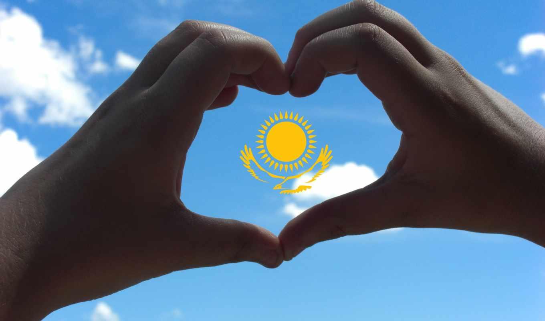 казахстан, флаг, руки, сердце, sun, небо, орлан,