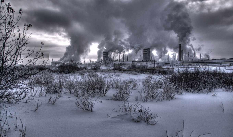 завод, станция, атомная, дым, зима,