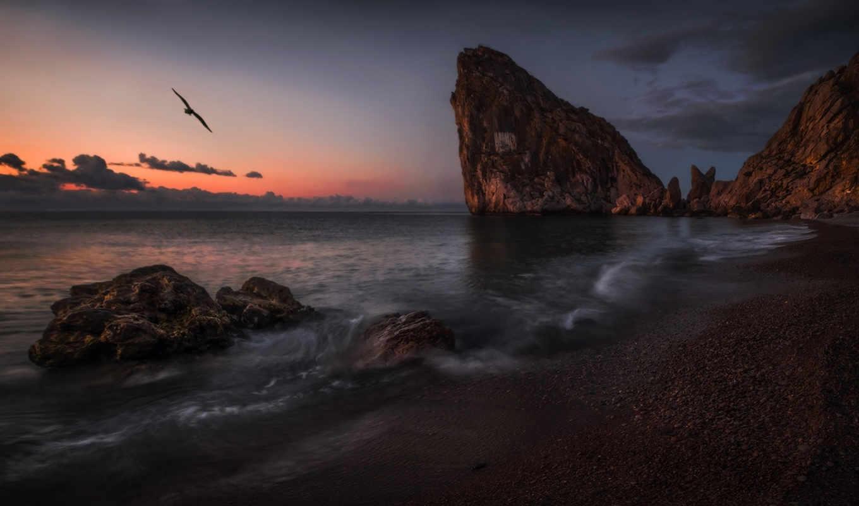 море, дива, берег, крым, пейзаж, симеиз, скалы, закат, картинка,