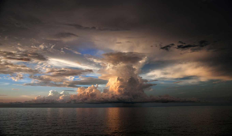 буря, облако, море, рябь, небо,