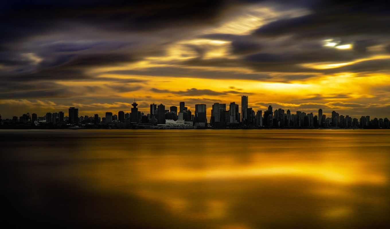 alcatel, vancouver, город, страны, от, города, природа, здания, вечер, страница,