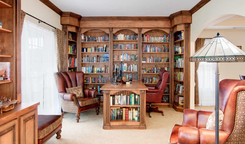 библиотека, офис, кабинет, интерьер,