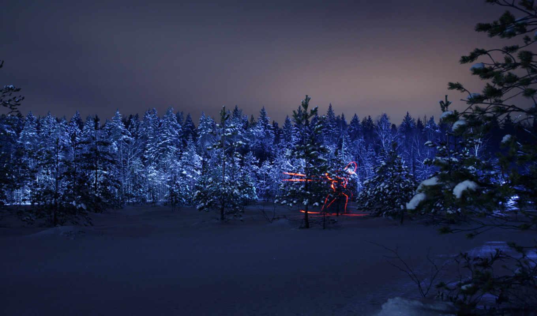 олимпиада, ночь, лыжник, лес, зима, силуэт,