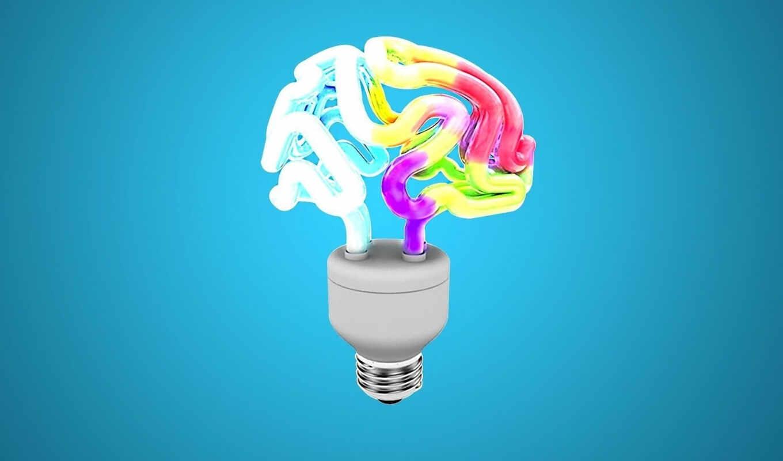 мозг, лампочка, энергосберегающая, картинка, farben, abstrakt,