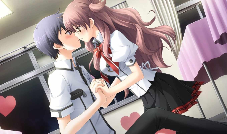game, with, couple, hair, kiss, hina, ribbon, hosaka,