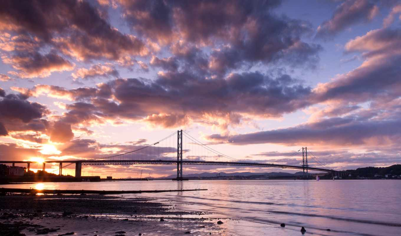 небо, landscape, облака, природа, река, закат, мост, шотландия,