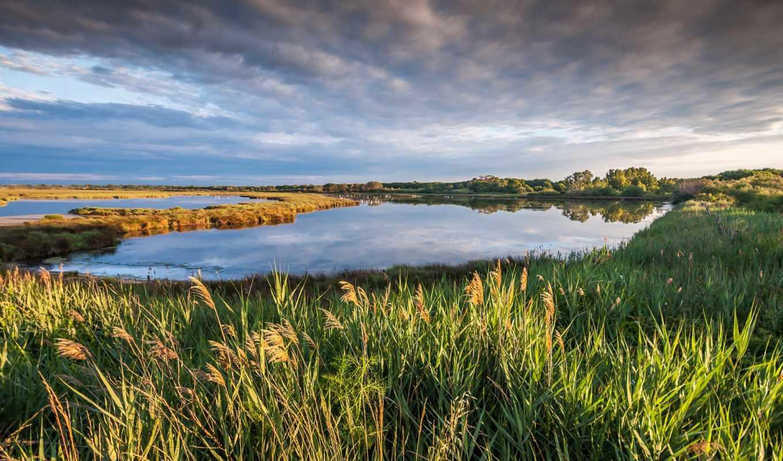 природа, небо, озеро, landscape, облака, camargue, petite, франция,