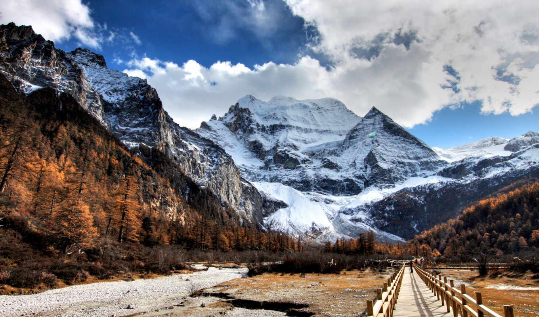 ,горы, снег, лес, небо, дорожка,