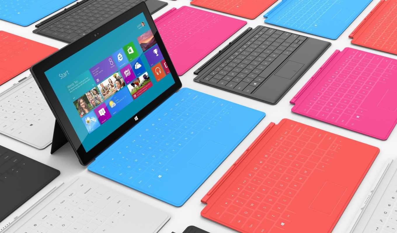 microsoft, surface, windows, планшет, клавиатура, разноцветный