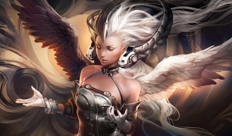 sakimichan, крылья, арт, девушка, наушники, yang, коса, godess, ying, картинку, art, кнопкой, similar, wallpapers, правой, fantasy,