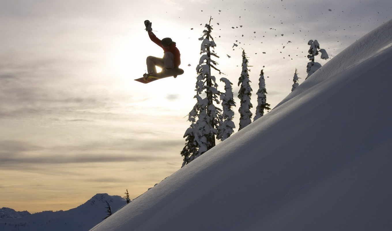 обои, сноуборд, снег, солнце, широкоформатные, спо