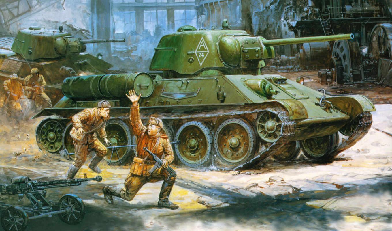 ссср, дшк, рисунок, ркка, средний, танк, солдаты, танки,