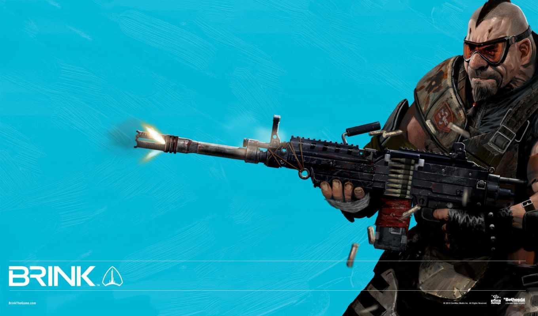 brink, game, video, игры, пулемет, голубой,