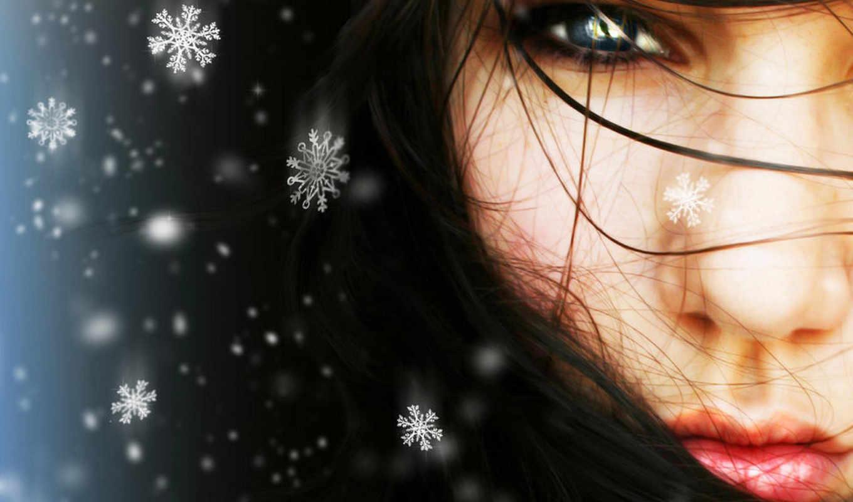 девушка, снег, winter, снежинки, devushki, лицо,