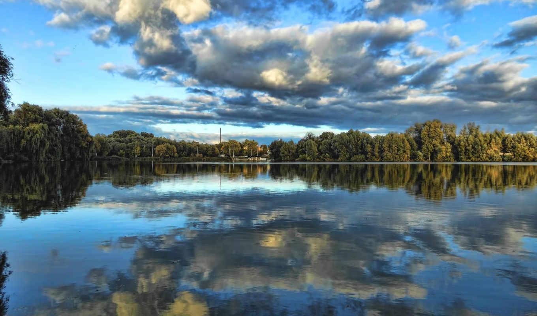 река, desktopwallpape, отражение, картинок, небо, деревя, коллекция,