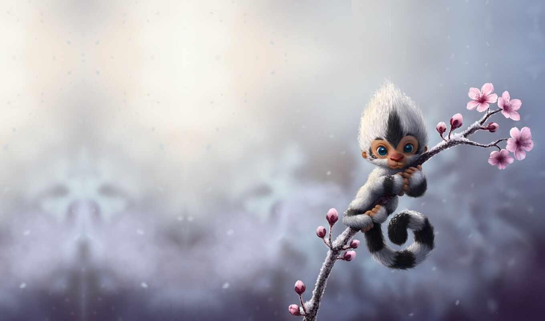 весна, сакур, снег, обезьяна, арта, красивый, обезьянка, momo, animal, cool